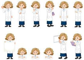 ensemble de fille en robe de laboratoire vecteur