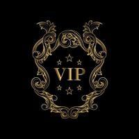 cadre de badge de luxe vip sur fond noir