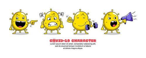 ensemble de dessin animé idiot coronavirus jaune covid-19