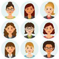 sourire, femmes affaires, gens, avatars vecteur