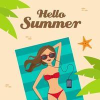 bonjour l'été et la fille sur la plage vecteur