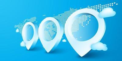 3 marqueurs de localisation géographique vecteur