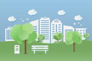 parc verdoyant en paysage urbain vecteur