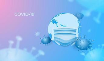 cellules du virus covid-19 autour de la terre portant un masque facial