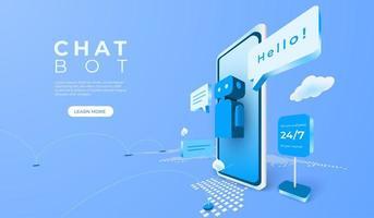 application mobile numérique ai avec bot de chat client vecteur