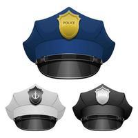 chapeau d'officier de police isolé sur fond blanc vecteur