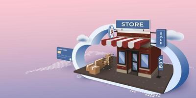 concept de magasinage en ligne pour application mobile vecteur