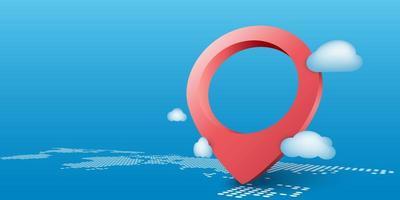 icône de broche de navigateur sur fond de carte du monde vecteur