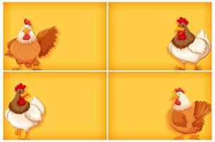 modèle de fond avec couleur unie et poulets vecteur