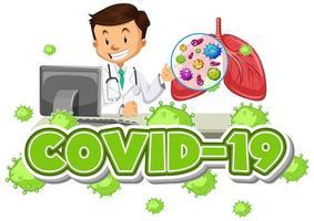modèle de signe Covid 19 avec un médecin heureux et des poumons humains vecteur