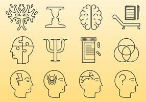 Icônes de ligne de psychologie