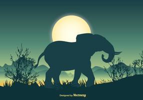Scène de silhouette d'éléphant vecteur