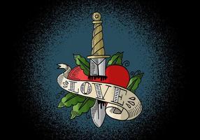 Heart & Knife Tattoo Art vecteur