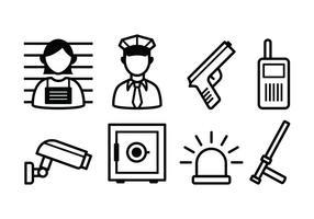 Ensemble d'icônes de police et de crime gratuit vecteur
