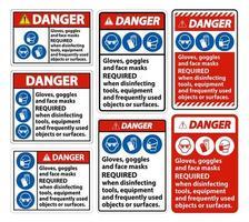 danger, masques faciaux signe requis vecteur