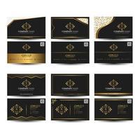 jeu de cartes de visite ornement noir et or vecteur