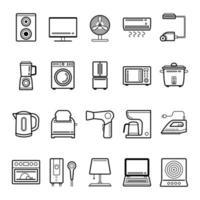 jeu d'icônes de contour des appareils ménagers vecteur