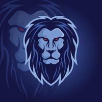 logo mascotte tête de lion bleu