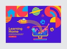 bannière d'apprentissage à la maison avec des formes géométriques et fusée