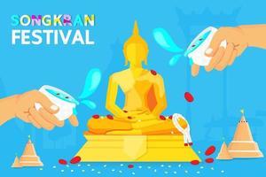 affiche du festival de songkran avec de l'eau saupoudrée sur bouddha vecteur