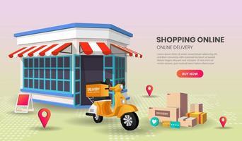 page de destination du service de livraison de nourriture de magasin de détail vecteur