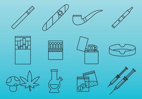 Icônes de drogues et de dépendance vecteur