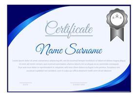 modèle de certificat de coin courbe dégradé bleu horizontal