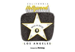 Voeux d'aquarelle Hollywood Walk Of Fame gratuit vecteur