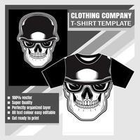 modèle de t-shirt de crâne portant un casque rétro