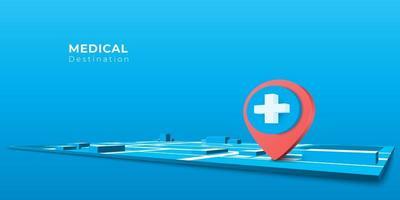 Icône de broche d'hôpital de navigation de style 3D sur la carte vecteur
