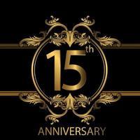 Emblème de luxe doré 15e anniversaire sur fond noir vecteur