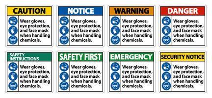 porter des gants, un ensemble de signes de masque facial de protection des yeux vecteur