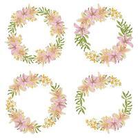 Cadre de couronne de fleurs de Lys dans un style aquarelle vecteur