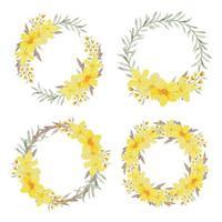 ensemble de cadre cercle allamanda aquarelle jaune