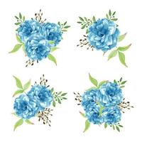 ensemble de bouquet de fleurs bleu aquarelle