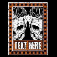 crânes jumeaux dans le cadre de texte orange