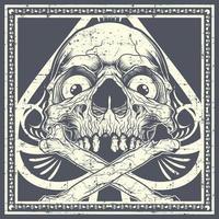 crâne grunge avec os croisés sur bêche