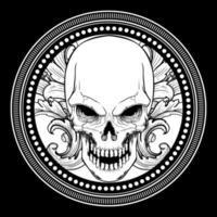 crâne orné de crocs dans le cadre du cercle