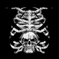 Cage thoracique humaine grunge avec crâne vecteur