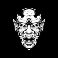 tête de démon à crocs avec troisième œil vecteur