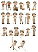 garçon en tenue de safari faisant diverses activités