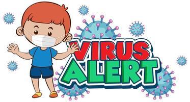 conception d'alerte de virus avec garçon en masque facial vecteur