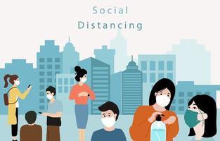 affiche de la distance sociale à l'extérieur dans la ville vecteur