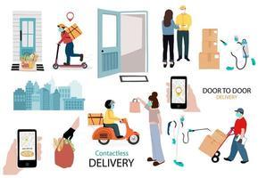 ensemble d'images de service et de livraison en ligne sans contact vecteur