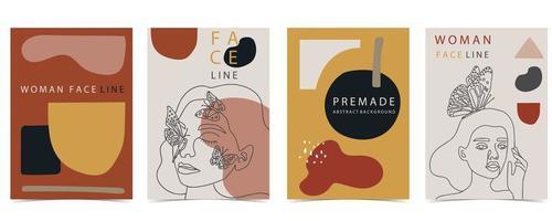 affiches avec des femmes de style de ligne avec des papillons