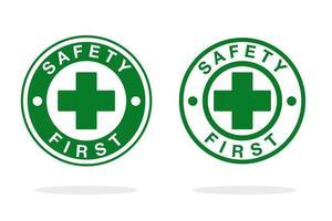icônes vertes, blanches «la sécurité d'abord» vecteur