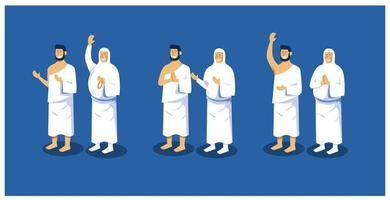 collection de pose de caractères pour islamique vecteur
