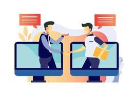processus d'entrevue d'emploi en ligne vecteur