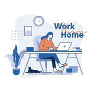 fille travaillant à la maison