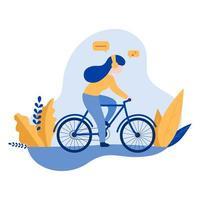 femme, porter, écouteurs, équitation, bicyclette vecteur